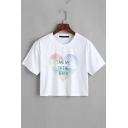 TAKE ME TO THE BEACH Letter Heart Printed Round Neck Short Sleeve White Crop Tee