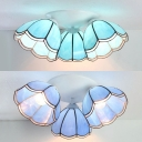 Tiffany Style Conical Light Fixture Glass 3 Lights Ceiling Mounted Light for Bedroom