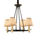 4/8 Lights Tapered Shade Chandelier Rustic Style Metal and Fabric Hanging Light for Living Room Foyer