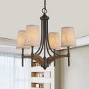 Tapered Shade/Candle Chandelier Dining Room Metal 4 Lights Vintage Style Hanging Light in Black