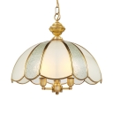 Elegant Style Dome Shape Chandelier 3 Lights Glass Metal Hanging Light for Bedroom Living Room