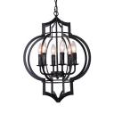 Vintage Style Candle Chandelier 6 Lights Metal Suspension Light in Black/Nickle/Gold for Living Room