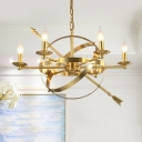 Candle Shape Foyer Hanging Light with Arrow Decoration 6 Lights Traditional Style Pendant Light