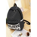 Stylish stripe Letter Believe I Can Fly Printed Fashion Backpack School Bag