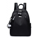 New Trendy Solid Color Bear Pendant Oxford Cloth College Backpack Bookbag 23*13*31 CM
