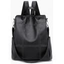 Simple Fashion Plaid Design PU Leather Shoulder Bag Backpack 33*15*33 CM