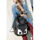 Lovely Cartoon Fox Pattern Black School Bag Casual Backpack 28*11*42 CM