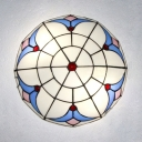 Stained Glass Dome Ceiling Lamp Living Room Tiffany Style Rustic Flush Mount Light