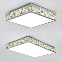 Square/Rectangle Bedroom Ceiling Light Acrylic 1 Light Modern Flush Mount Light in Yellow
