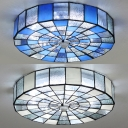 Glass Drum Flush Mount Light Living Room 1 Light European Style Ceiling Lamp in White/Blue