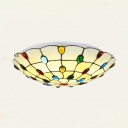 Stained Glass Domed Ceiling Light Bedroom Tiffany Style Flush Mount Light in Beige