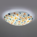Rustic Round Flush Mount Light Colorful Shell Glass Ceiling Lamp for Bedroom
