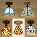 1 Light Ceiling Light Tiffany Style Stained Glass Flush Mount Light for Living Room Hallway