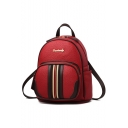 Stylish Classic Stripe Pattern PU Leather Mini Backpack 24*12*27 CM