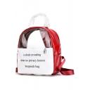 New Trendy Letter Printed Transparent Designed Backpack 24*13*27 CM