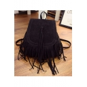 Glamorous Solid Color Tassel Decoration Black Backpack 23*14*27 CM