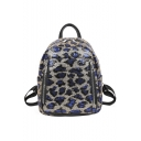 New Fashion Leopard Pattern Sequined Double Zippers Front Leisure Backpack