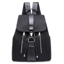 Trendy Solid Color Double Zippers Water Resistant Nylon Black Drawstring Backpack 27*14*32 CM