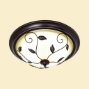 Rustic Leaf Decoration Ceiling Lamp Metal Flush Ceiling Light in White/Warm for Living Room