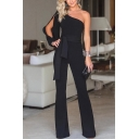 Women's Summer Trendy One Shoulder Split Long Sleeve Tied Waist Black Solid Color Jumpsuits