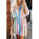 Summer Fancy Rainbow Striped Printed Batwing Sleeve V-Neck Tied Waist Mini Dress