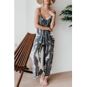 Women's Summer Fashion V Neck Spaghetti Straps Sleeveless Tie-dye Printed Wide Leg Jumpsuit