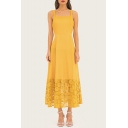 Women's New Trendy Yellow Insert Guipure Maxi Evening Dress Cami Dress
