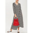 Women's Elegant Striped Pattern V-Neck Long Sleeve Bow-Tied Waist Split Front Maxi Dress