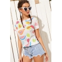 Girls Lovely Watermelon Printed Round Neck Short Sleeve White Casual Tee