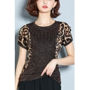 Womens Fashion Leopard Printed Round Neck Short Sleeve Silk Stretch Fit T-Shirt