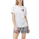 Women's Hot Fashion Shark Cartoon Print Round Neck Short Sleeve White T-shirt