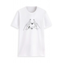 New Style Cute Gesture Heart Print Round Neck Short Sleeve slim T-Shirt For Women
