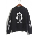 Popular Figure Letter NOT TODAY Mock Neck Long Sleeve Pullover Sweatshirt