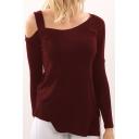 Women Hot Style Off The Shoulder Long Sleeve Plain Irregular Cotton T-Shirt