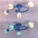Rustic Style Cone Ceiling Light Glass 4 Lights White/Blue Semi Flush Mount Light for Bedroom