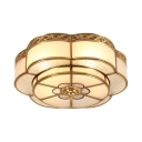3/4/6 Lights Flower Light Fixture Antique Style Metal Flush Mount Light for Hotel Restaurant