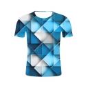 Unique Cool Blue Geometric 3D Printed Basic Short Sleeve T-Shirt