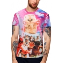 Men's Unique 3D Cat Figure Pattern Short Sleeve Round Neck Summer Pink T-Shirt