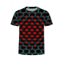 Men's New Trendy Cool 3D Hole Printed Round Neck Short Sleeve T-Shirt