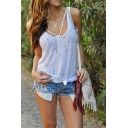 Womens Summer New Fashion Scoop Neck Sleeveless Hollow Out Casual White Tank Top