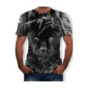 Men's Hot Popular 3D Panther Printed Basic Round Neck Short Sleeve Loose Grey T-Shirt