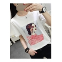 Summer Cartoon Girl Printed Basic Short Sleeve Casual White T-Shirt