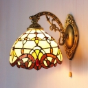 Orange Baroque Stained Glass Tiffany One-light Wall Sconce with Pull Chain