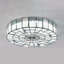 Modern Style Round Ceiling Light Frosted Glass Flush Mount Light for Living Room