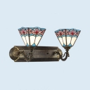 2 Lights Trapezoid Sconce Light Tiffany Style Antique Stained Glass Wall Light for Hotel