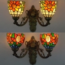 Stained Glass Flower Sconce Light 2 Lights Tiffany Style Rustic Wall Lamp for Cafe Shop
