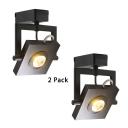 (2 Pack)Aluminum Slim Square Spot Light Cloth Shop 1 Head Rotatable LED Track Lighting in Black/White