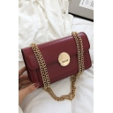 Popular Plain Hasp Crossbody Bag with Gold Chain Strap 22*7*14 CM