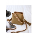 Fashion Solid Color Tassel Embellishment Crossbody Bucket Bag 22*10*21 CM