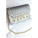 Chic Plain Rivet Pendant Embellishment Sequin Square Crossbody Bag 22*7*16 CM